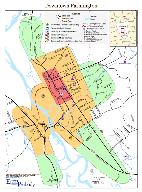 A map of the Farmington downtown and surrounding areas created by