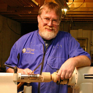 Kim Dailey, Carthage Wood Turner, at the lathe.