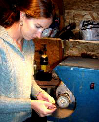 Elizabeth Stefany of Carrabassett Valley at her buffing wheel.