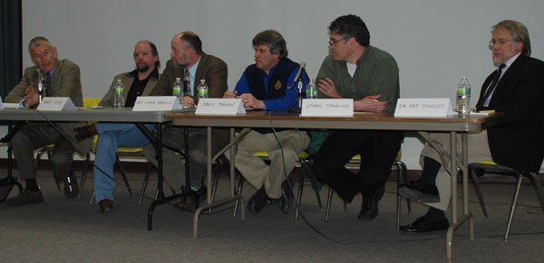 Panelists at a forum on gun violence held at UMF Thursday are, from left to right: