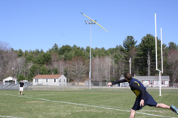 Junior Brad Dwinal winning the Javelin Throw""