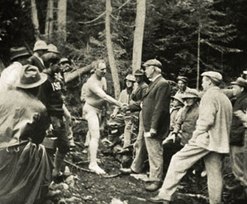Wilton native Joe Knowles heads off into Maine's wilderness on Aug. 4, 1913 wearing nothing but a jock strap.