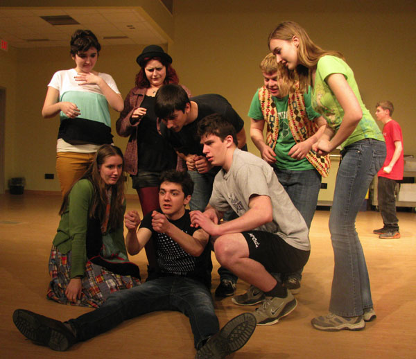 Seated-Noah LePage L-R Anja Nordstrom, Astra Pierson, Cat Goding, Josiah Chapman, Logan Ross, Taylor Withey, Tyler Sennick