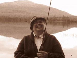 Paula Roy as Fly Rod Crosby at Mt. Blue Pond.