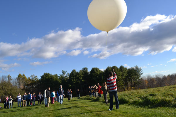 Alex Gilbert lets go and the balloon rises, carrying its payload.