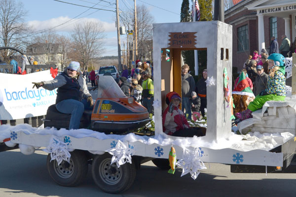 There were more than a few ice shacks in keeping with the parade theme of Maine's Winter Activities for the 37th annual Chester Greenwood Day parade.