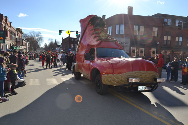 The LL Bean bootmobile joined the parade  for the first time in the Chester Greenwood Day parade.