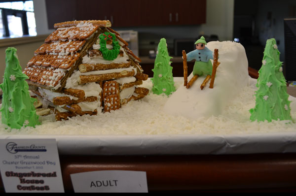 The Franklin County Chamber of Commerce sponsored a gingerbread house contest, with entries on display at Bangor Savings Bank.