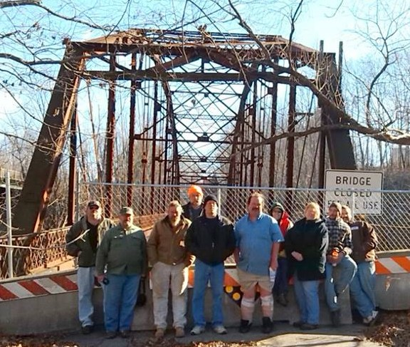With the tearing down of the old bridge in New Sharon, some of us kids of the 70's got together in November for one last photo of the bridge with a tearful good bye.