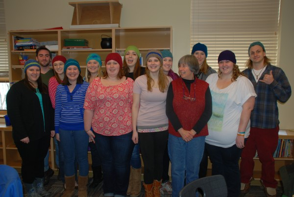 Wearing their hats made by Cathy Wimett are: