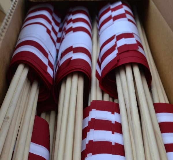 Only the red and white of the American flagas to be placed at the graves of veterans shows. 1,032 flags will be placed at the graves of veterans in the 13 cemeteries in Farmington by American Legion members of the Roderick-Crosby Post 28