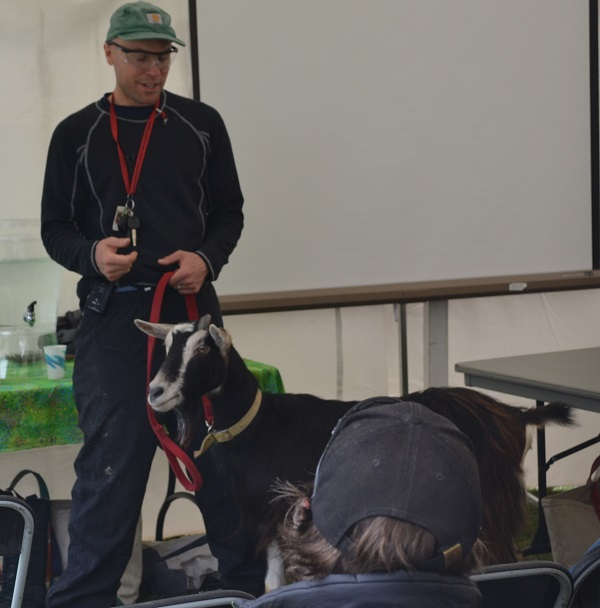 Jordan Kimball describes the care of goats in the 10:30 a.m. Tent Talk.