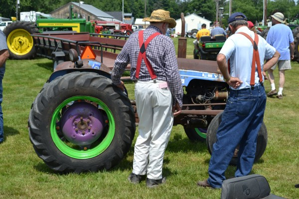 A 1960's Leyland tractor gets an appreciative look by attendees tot eh tractor Festival on Saturday.