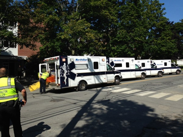 Ambulances arrive to evacuate the wounded from Preble Hall.