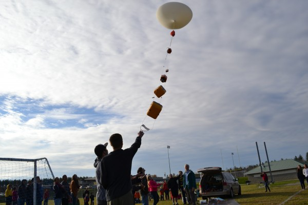 The payload carrying the subjects of the students' experiments, along with a GPS device for retrieval are lifted up by the balloon.