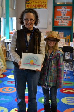 Librarian Lori Ellis with author Lydia Schofield.