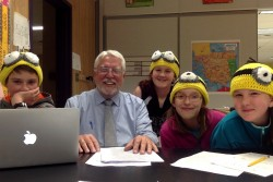 Minions LEGO League Team working with Rep. Paul Gilbert on their bullying in schools project. Those in the picture (l to r) are:  Michael Jones, Representative Paul Gilbert, Melissa Bamford, Roni-Jo Morrison, and Acacia Fournier.