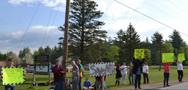 Approximately 25 students staged a walk out and protested along Route 142 this morning.