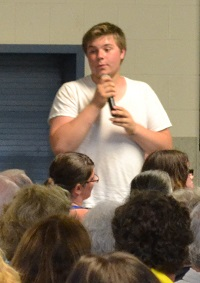 Student Brandon Haines addresses residents at Thursday's meeting.