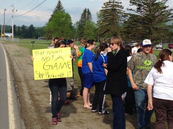 Students protesting along Route 142 this morning.