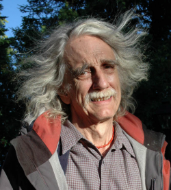 Hugh Ogden (1937-2006) on Poet's Island in Rangeley Lake, August 2006. Lovers of poetry will gather Sunday, August 2nd , 6:00pm, at Ecopelagicon, 7 Pond Street, Rangeley for the 9th Annual Hugh Ogden Memorial Evening of Poetry. (Peggy Yocom Photo)