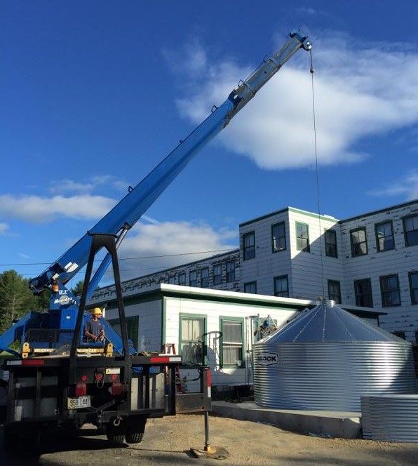 The 56-ton silo is assembled outside of the North Jay Warehouse in North Jay.
