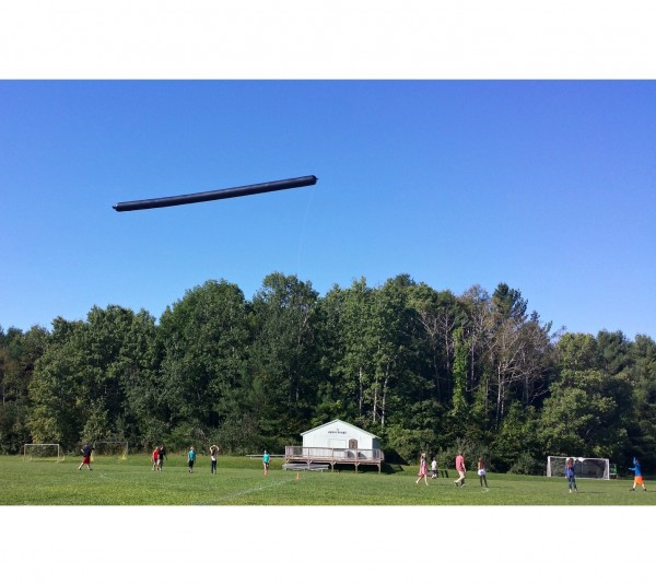 A Mt. Blue Middle School science class takes to the air above the athletic fields (Photo by Kim Fast)