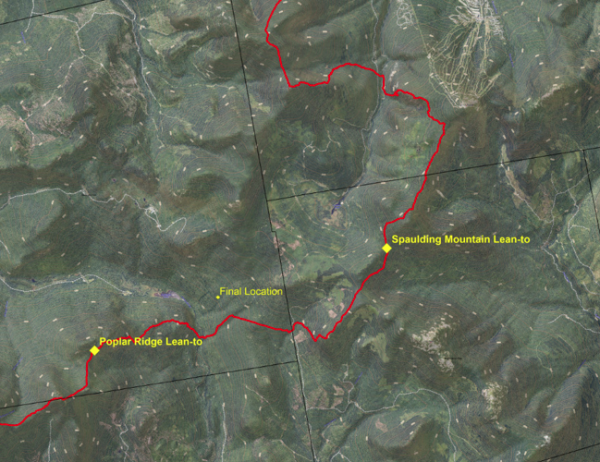 Map showing Appalachian Trail highlighting Poplar Ridge Lean-to, Spaulding Lean-to and Geraldine's final location discovered October 14, 2015.