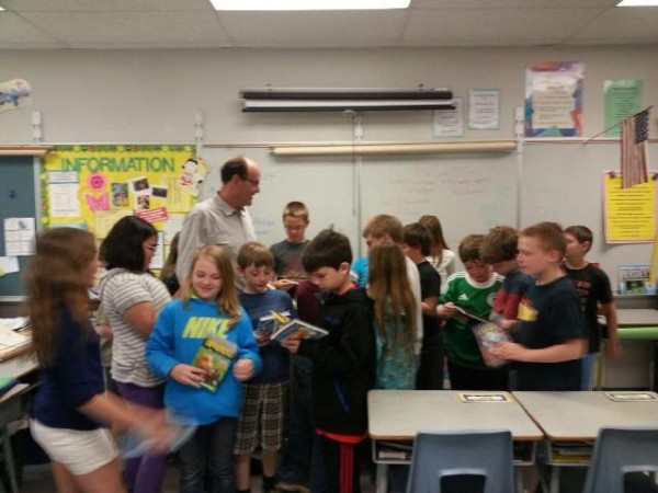 Kenny Brechner with students at Cascade Brook School.