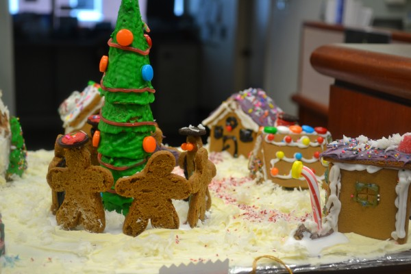 Entries of last year's gingerbread house contest were on display at Bangor Savings Bank.