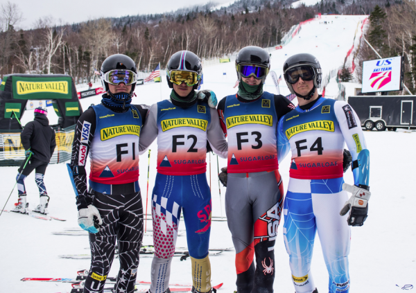 CVA alpine racers Sean Sullivan, Henry Kearing, Eli Pangburn, and Dev Thomas - forerunners at the 2015 U.S. Alpine Championships hosted by Sugarloaf Mountain.