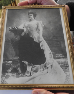 A framed photograph of Lillian Nordica at the height of her career.