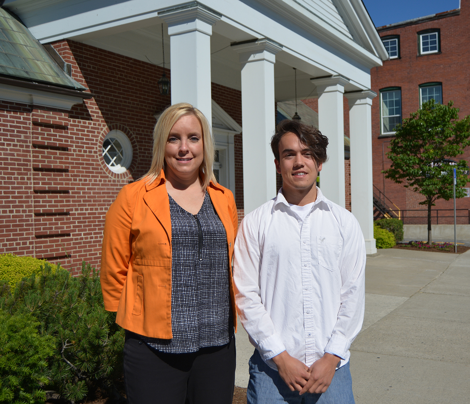 Mt. Abram High School graduate Courtland David Talmage with FSB's Beckie Bowering.