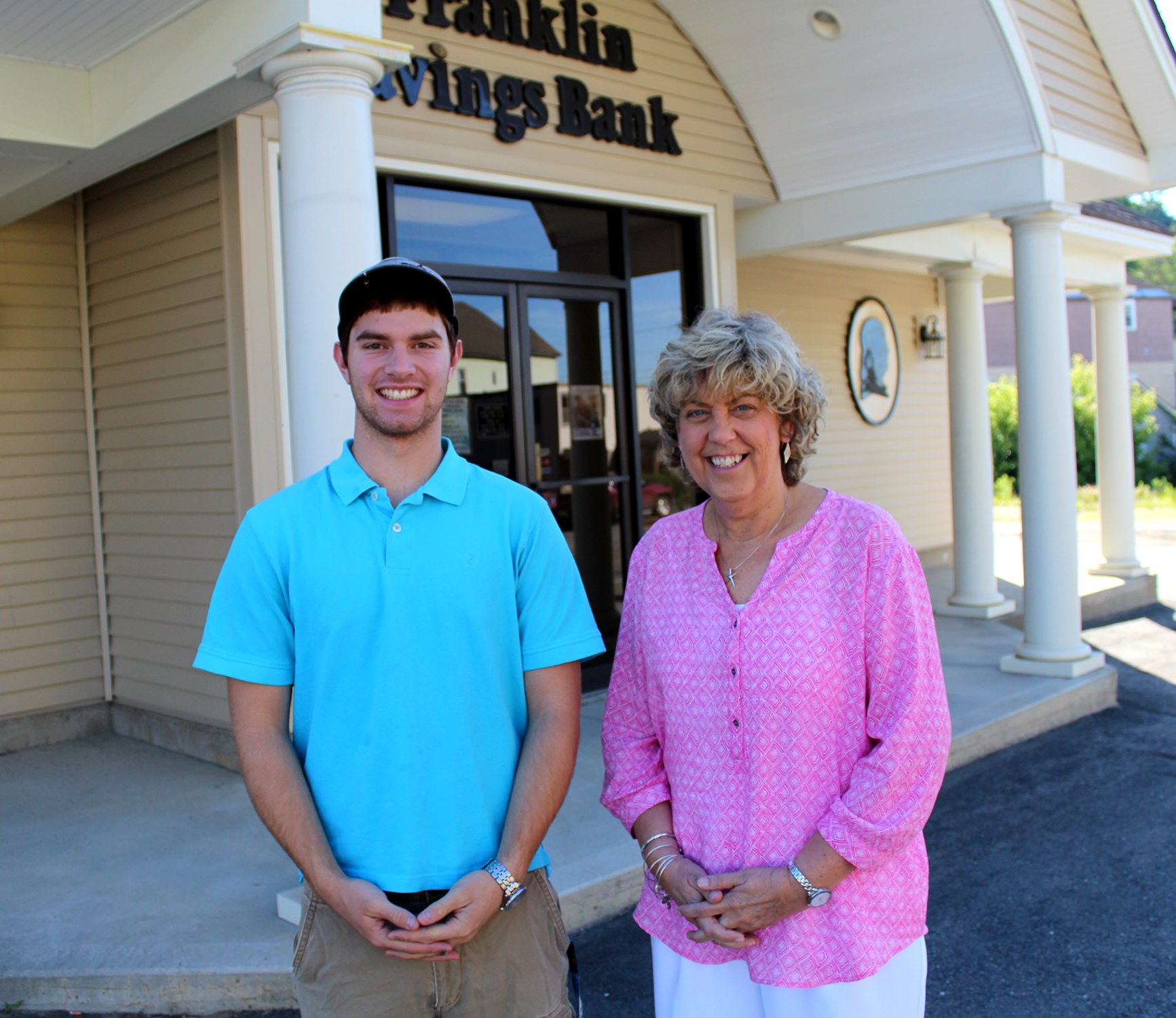 Spruce Mountain High School graduate Chad Richards with Jay Branch Manager Diane Jackson.