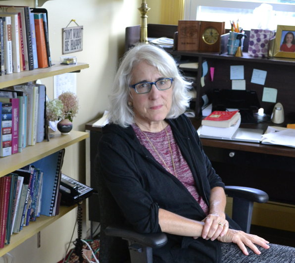 Patricia O'Donnell in her office on the University of Maine at Farmington campus.