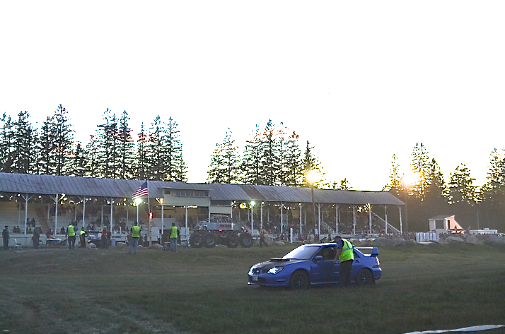 Dustin Tyler and his Subaru STI during the the Drag Your Neighbor races at the Farmington Fair.