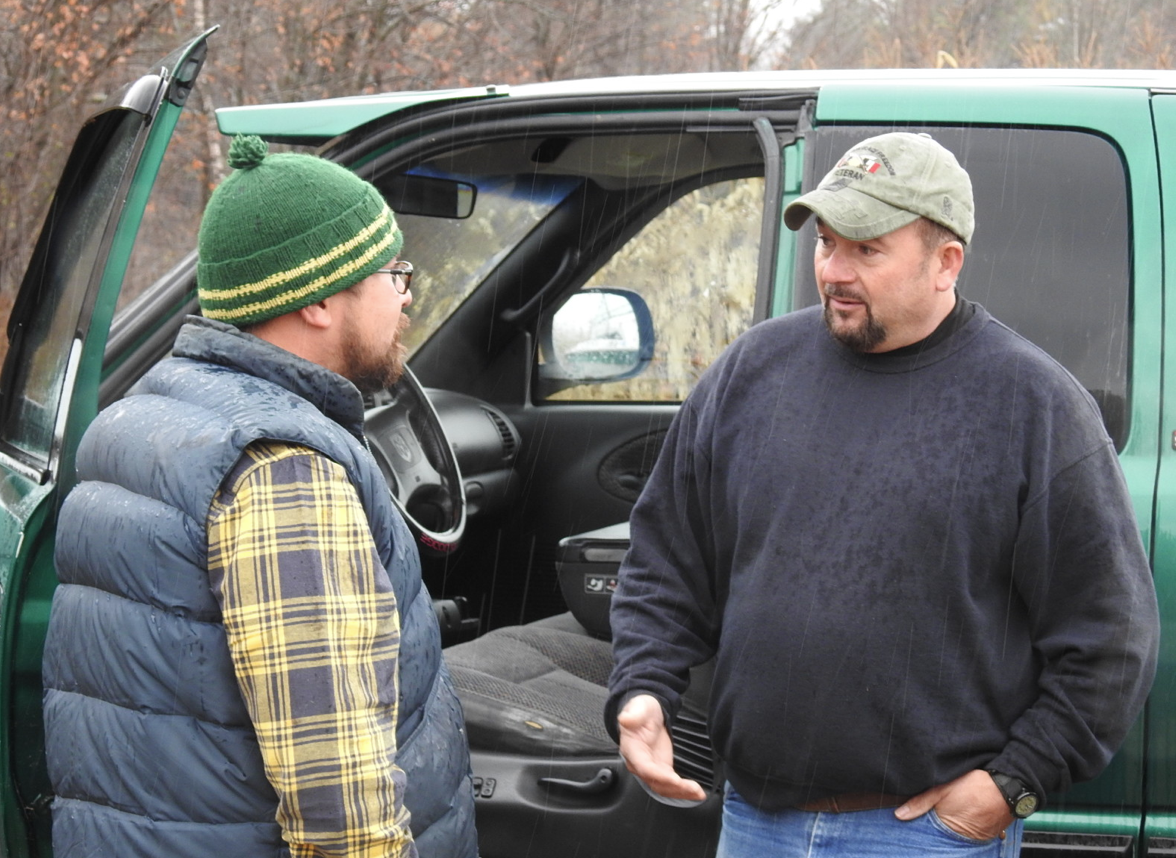 Veteran JP Espinosa, at left, is given a pick up truck by veteran Scott Flanders of Farmington on Saturday.