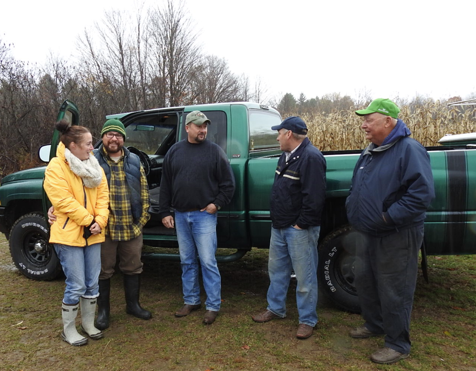 From left to right: Alice and JP Espinosa of Parsonsfield, Scott Falnders of Farmington, Jerry Ireland, founder of United Farmer Vterans of America, and Bussie York of Farmington, who honored the veterans program at his family's annual corn maze.