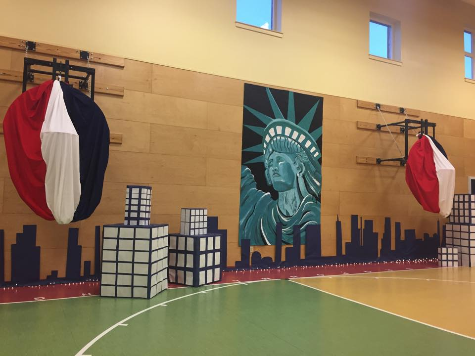 A team of school personnel decorated gym for the event.