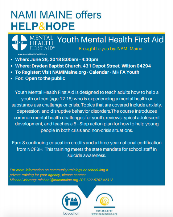 Youth Mental Health First Aid Program Offered In Wilton Daily Bulldog