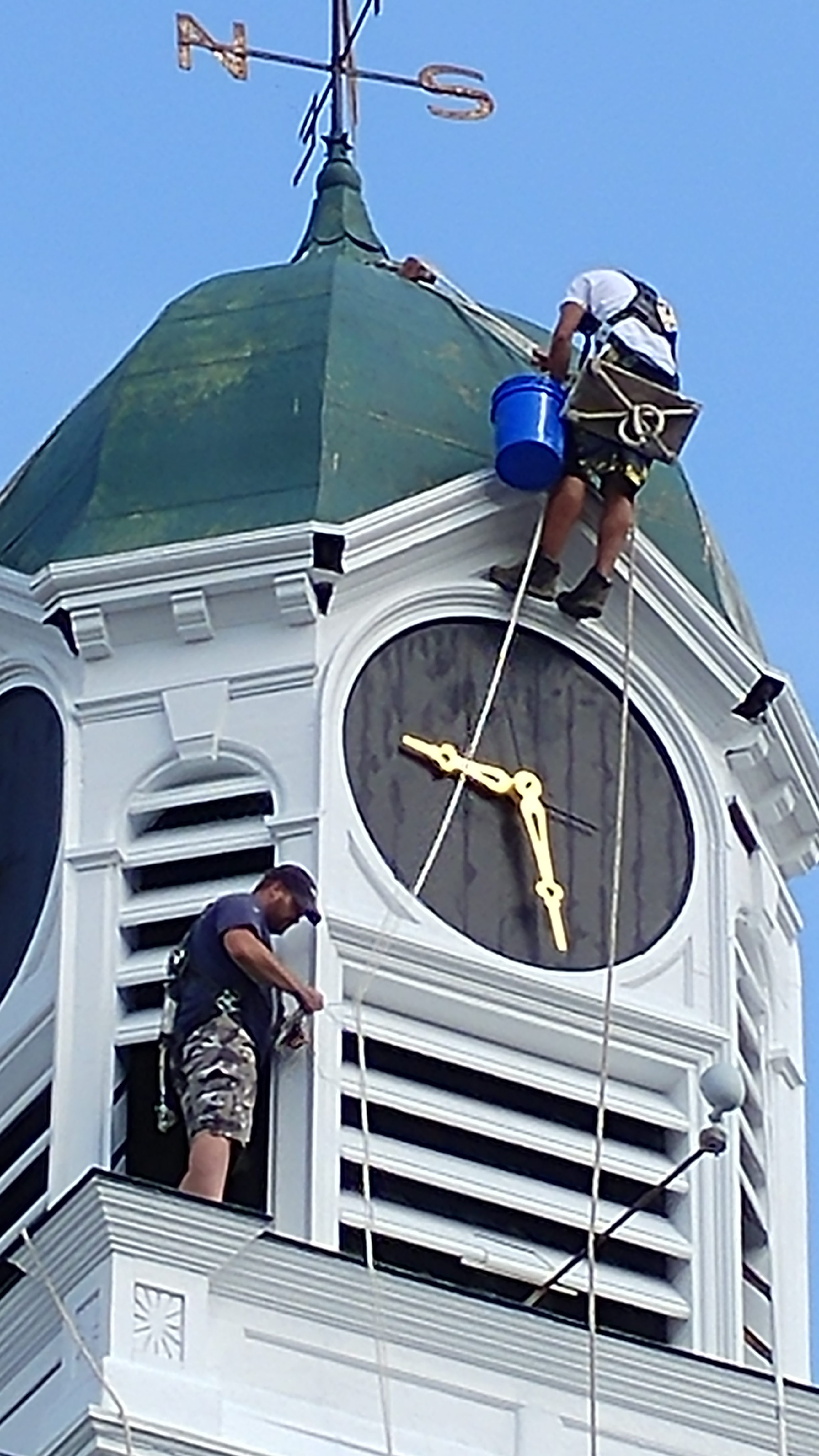 Courthouse project renovating clock tower in Farmington