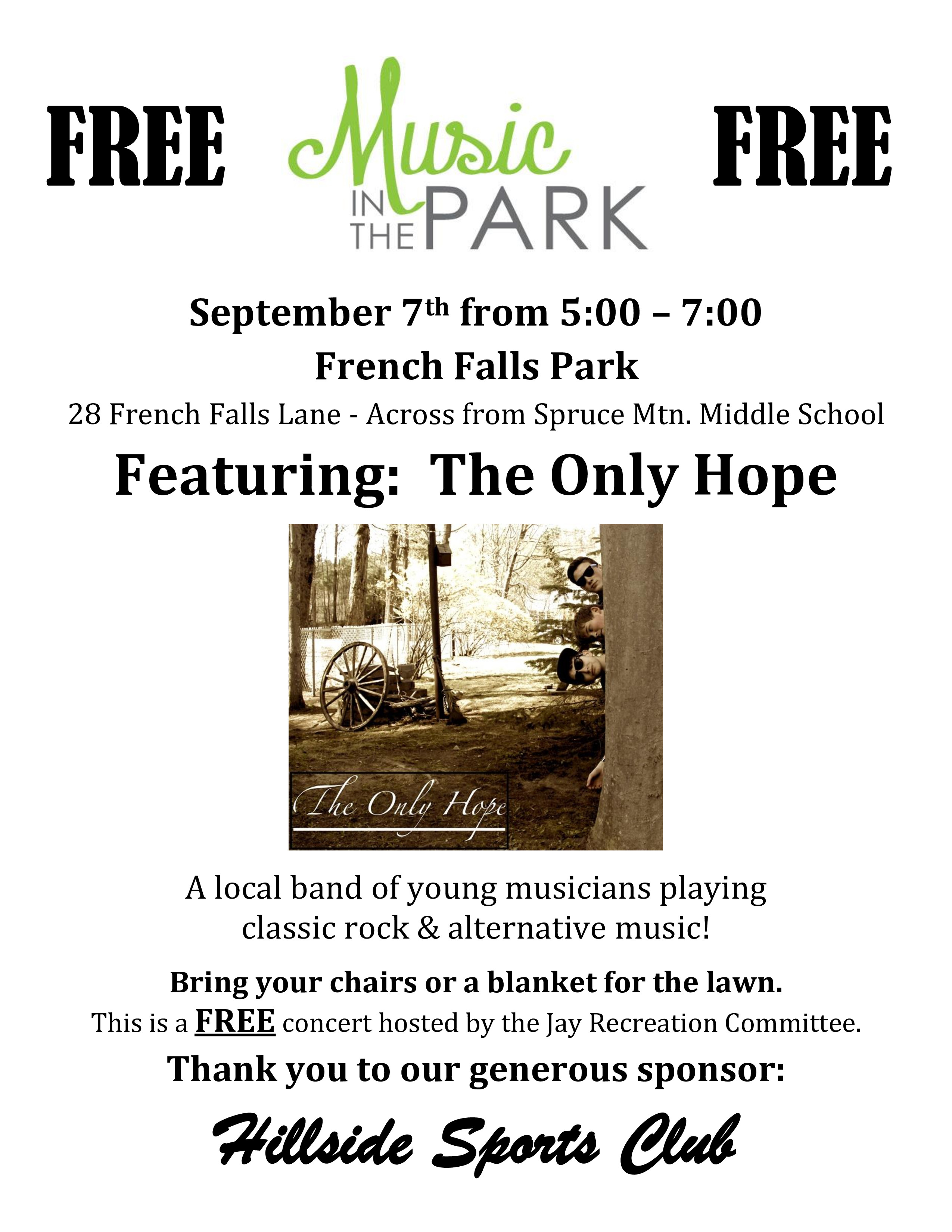 Music in the Park brings 'The Only Hope' to French Falls on